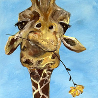 Contemporary Giraffe Art Print8 x 10Funny by ContemporaryEarthArt