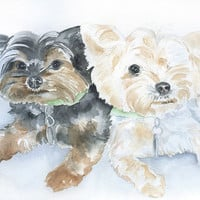 Custom Pet Portrait - of Two Animals - Watercolor Painting - 8 x 10 - Original Art