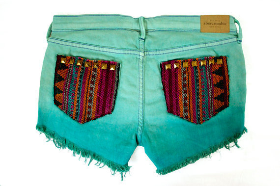 Ombre Tribal Aztec Navajo Southwestern Ethnic Print Cut Offs by GirlMeetsClothes on Etsy