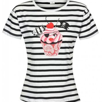Women's Black and White Striped Pirate Cupcake Tee T-Shirt With Red Cherry Top