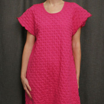 Hot Pink Short Sleeve 3/4 Length Gown Cotton Waffle, Made In The USA | Simple Pleasures, Inc.