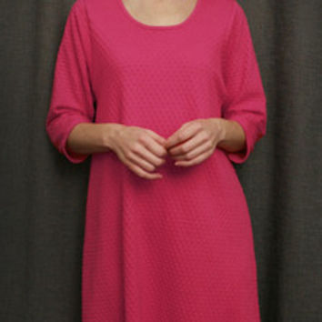 Hot Pink 3/4 Sleeve 3/4 Length NightGown Cotton Dot, Made In The USA | Simple Pleasures, Inc.