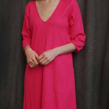 Hot Pink VNeck 3/4 NightGown Cotton Shadow Stripe, Made In The USA | Simple Pleasures, Inc.