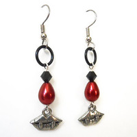 Gothic vampire earrings, Fang earrings, Blood drops, Red, silver, and black