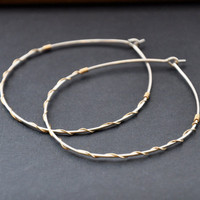Large Silver Hoops 14K Gold Filled Mixed Metal Earrings by GueGueCreations