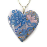 Heart Pendant Pink and Blue Mokume Gane by KireinaJewellery