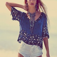 Free People Womens Sparkling Seas Embellished Top -