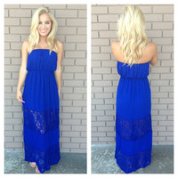 Keepsake Lace Strapless Maxi Dress - ROYAL BLUE