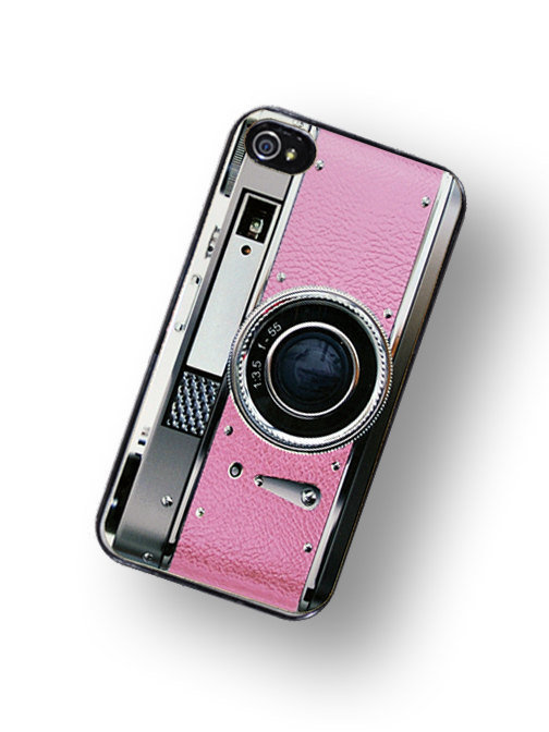 iPhone Case Retro Pretty In Pink Camera Hard by TheCuriousCaseLLC
