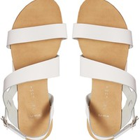 New Look Hana Wide Fit White Leather Strap Flat Sandals
