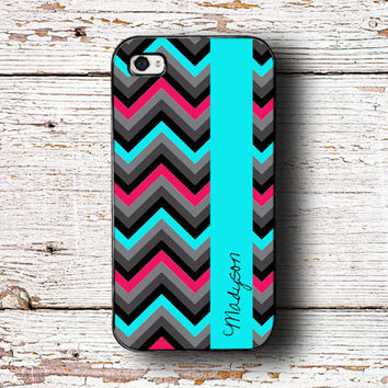 Iphone 5 case monogram iPhone 5c case - Black hot pink, aqua chevron - iPhone 4 case fits iPhone 4/4s/5/5s/5c monogrammed iPhone case (1246)