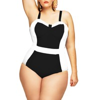"""St. Vincent"" Colorblock Plus Size Swimsuit w/Underwire- Black/White - Swimwear - Monif C"