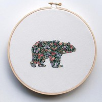 Floral Bear Embroidered Wall Art