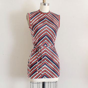 vintage 1960s top // 60s chevron top with belt