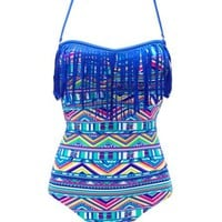 CAGED TRIBAL PRINT FRINGE ONE-PIECE SWIMSUIT