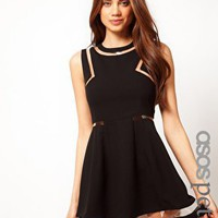 ASOS PETITE Black Skater Dress With Clear Plastic Panels