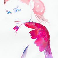 Art Fashion illustration Watercolour Fashion by silverridgestudio