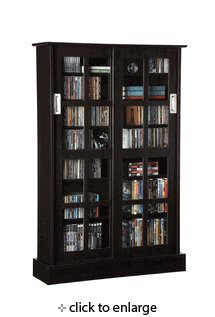 Media Storage Cabinet Windowpane Sliding Doors in Espresso Finish