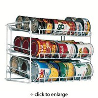 Kitchen Can Storage Rack with 3 Tier in White Finish