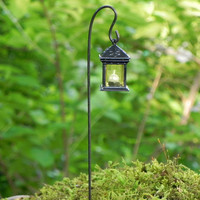 Miniature Lantern for fairy garden - one square black