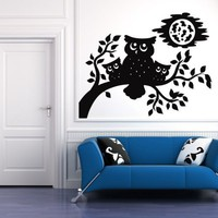 Halloween Owl Mama and Babies on a Branch - Vinyl Decal | VinylWallAccents - Housewares on ArtFire