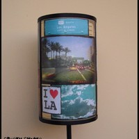 I love LA  lamp shade lampshade - lighting, urban art, contemporary lighting, pastel, dorm room,night light, summer, Los Angeles, California