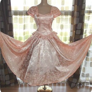 Vintage 80s Peach Floral Satin Full Sweep Cocktail Dress S/M Dancing Ball Gown Ruffle Peplum