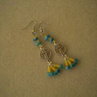Turquoise Nugget Cross Earrings by IllusionsbyDonna on Zibbet