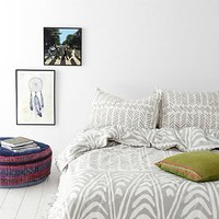 Magical Thinking Hand-Drawn Geo Duvet Cover- Grey Full/queen