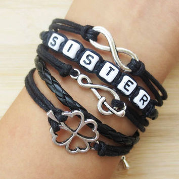 Welcome to my shop, sister bracelet,clover Bracelet,infinity Bracelet, , music note ,If you like it, click the collection