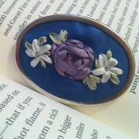 Pink and Lavender Embroidered Flower Pendant by BeanTownEmbroidery