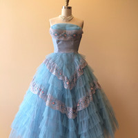 1950s Dress - Vintage 50s Dress - Blue Tulle Cupcake Wedding Party Prom Dress S - Cinderella's Slipper