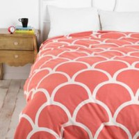 UrbanOutfitters.com &gt; Stamped Scallop Duvet Cover in Pink