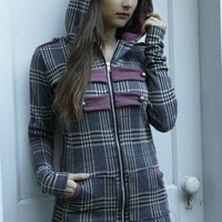 grey and burgundy plaid MILITARY STYLE HOODIE custom size | erosdiy - Clothing on ArtFire