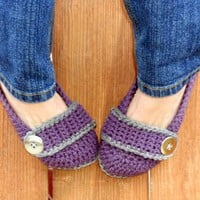 Stormy weather button strap slippers, booties, shoes, socks | valkinthreads - Knitting on ArtFire