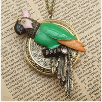 Large Steampunk Parrot Locket Necklace Vintage by sallydesign