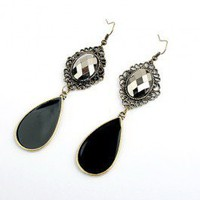 Vintage Teardrop Black Artificial Jade Bohemian Drop Earrings - Drop Earrings - Earrings