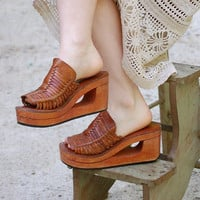 1970's Platform Leather Sandals Shoes with Wood Sole by JayaLee