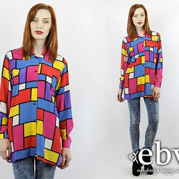 Vintage 90s Graphic Print Oversized Silk Blouse Vintage Silk Blouse Rainbow Blouse Oversized Button Up Oversized Button Down Silk Shirt