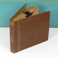 Vintage Record Storage Album Book with 8 Vinyl Records from the 1940s and 50s 45 RPM Microgroove