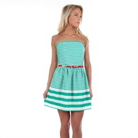 Double Zero Juniors Striped Strapless Dress with Belt at Von Maur