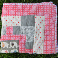 Baby quilt - Girl - Elephant - Bedding - Birch organic - Pink and gray - Crib - Homemade - Modern - Stroller - Pallet - New baby