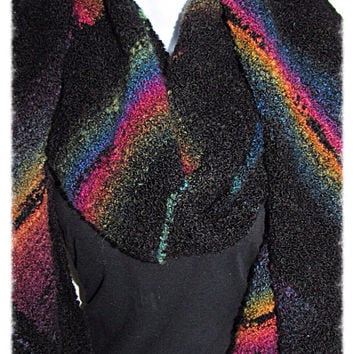 Diagonal Rainbow Stripe Super Scarf - Hand Knit, Ready to Ship, hugely comfy and squishy, multi directional stripes, textured yarn, boucle