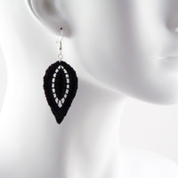 Pointy Black Lace Earrings  OOAK  Statement Fantasy by Arthlin