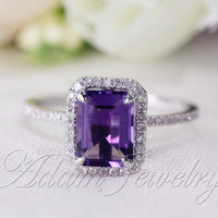 6x8mm Emerald Cut  Amethyst Ring Pave Diamonds 14k White Gold  Engagement Ring/ Wedding Ring/ Promise Ring/ Anniversary Ring