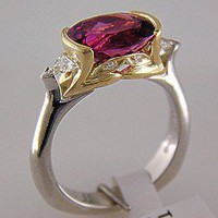 Richard Krementz Gemstones Platinum 18KT Rubellite and Diamond Ring | davisonlorna - Jewelry on ArtFire
