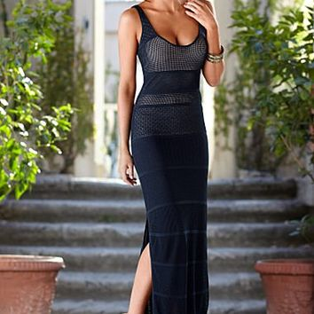 Pointelle Slit Maxi Dress
