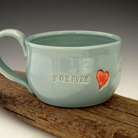 Mug with Red Heart Forever Summer Turquoise by DirtKickerPottery