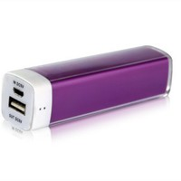 Elivebuy® Lip Gloss 2500mah Universal Mobile USB Portable Power Bank Charger 5v 1a Output - Purple