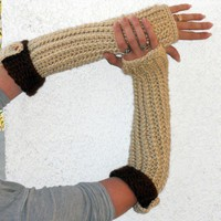 Coffee cream long ribbed with cuff crochet arm warmers, fingerless ...... | valkinthreads - Accessories on ArtFire